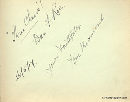 Autograph Album Page Three Cheers 1917 Dan Roe Tom Redmond