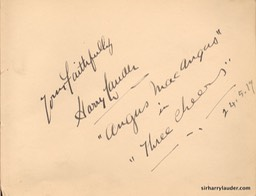 Autograph Album Page Three Cheers 1917 Harry Lauder