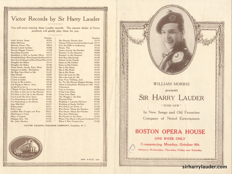 Boston Opera House Program Bi-Fold Oct 9 1922?