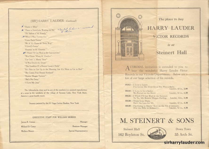 Boston Opera House Programme Bi-Fold Undated Reverse