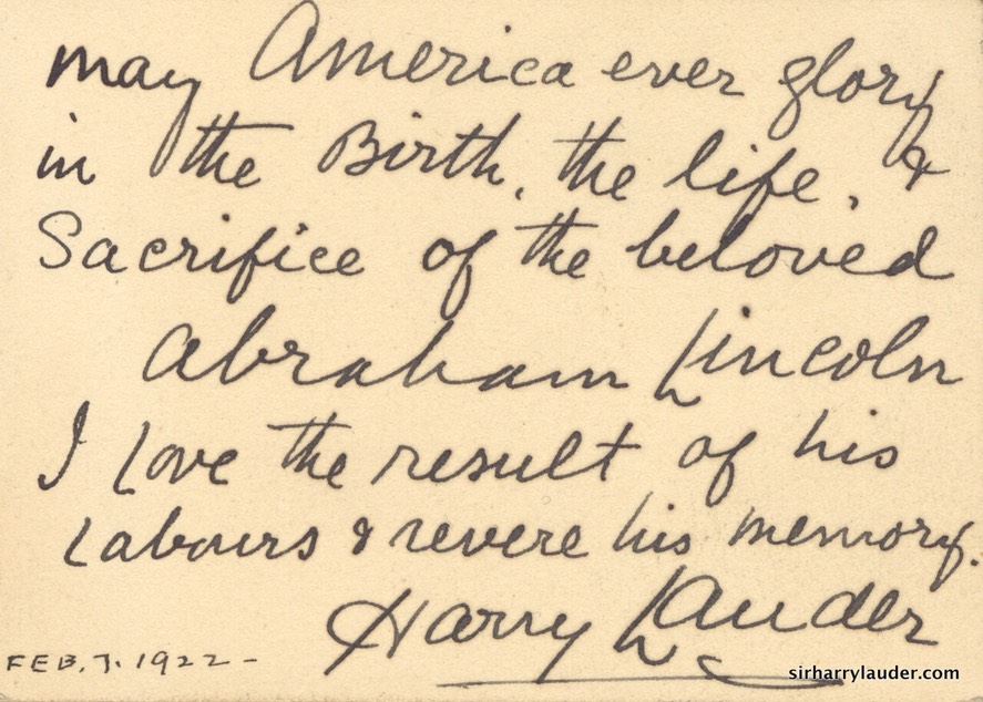 Card Handwritten Sir Harry On Abraham Lincoln Dated Feb 1922