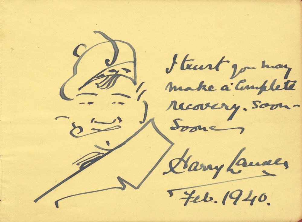Caricature With Recovery Sentiment Signed Album Page Feb 1940