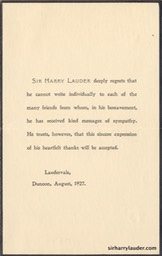Condolence Acknowledgement Of Death of Lady Lauder August 1927