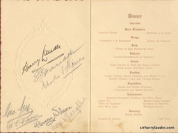 Dinner Menu Dinner For Sir Harry & Lady Lauder Canterbury Caledonian Society Signed Inside Dated Jun 15 1923 Inside