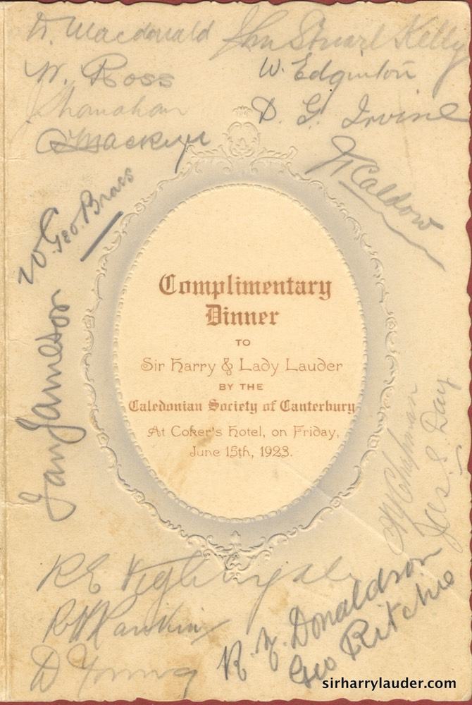Dinner Menu Dinner For Sir Harry & Lady Lauder Canterbury Caledonian Society Signed Inside Dated Jun 15 1923
