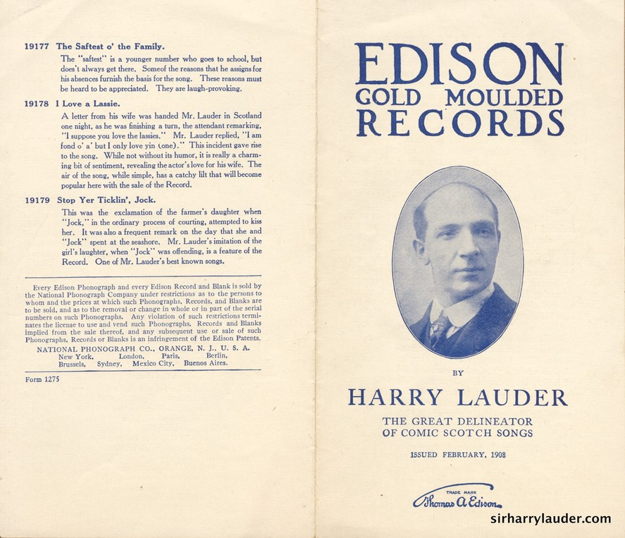 edison company pamphlet for new lauder records feb 1908 1 sir