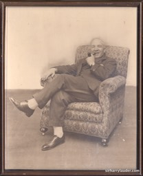 Framed Photo Jimmy Logan Collection Lauder Property Sir Harry In Chair Undated