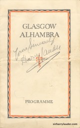 Glasgow Alhambra Signed Cover In Pencil Non Lauder Programme Mar 1933