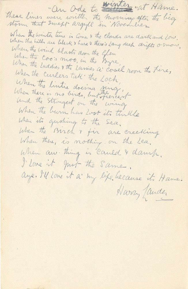 Handwritten Verse An Ode To Winter At Home Signed Undated