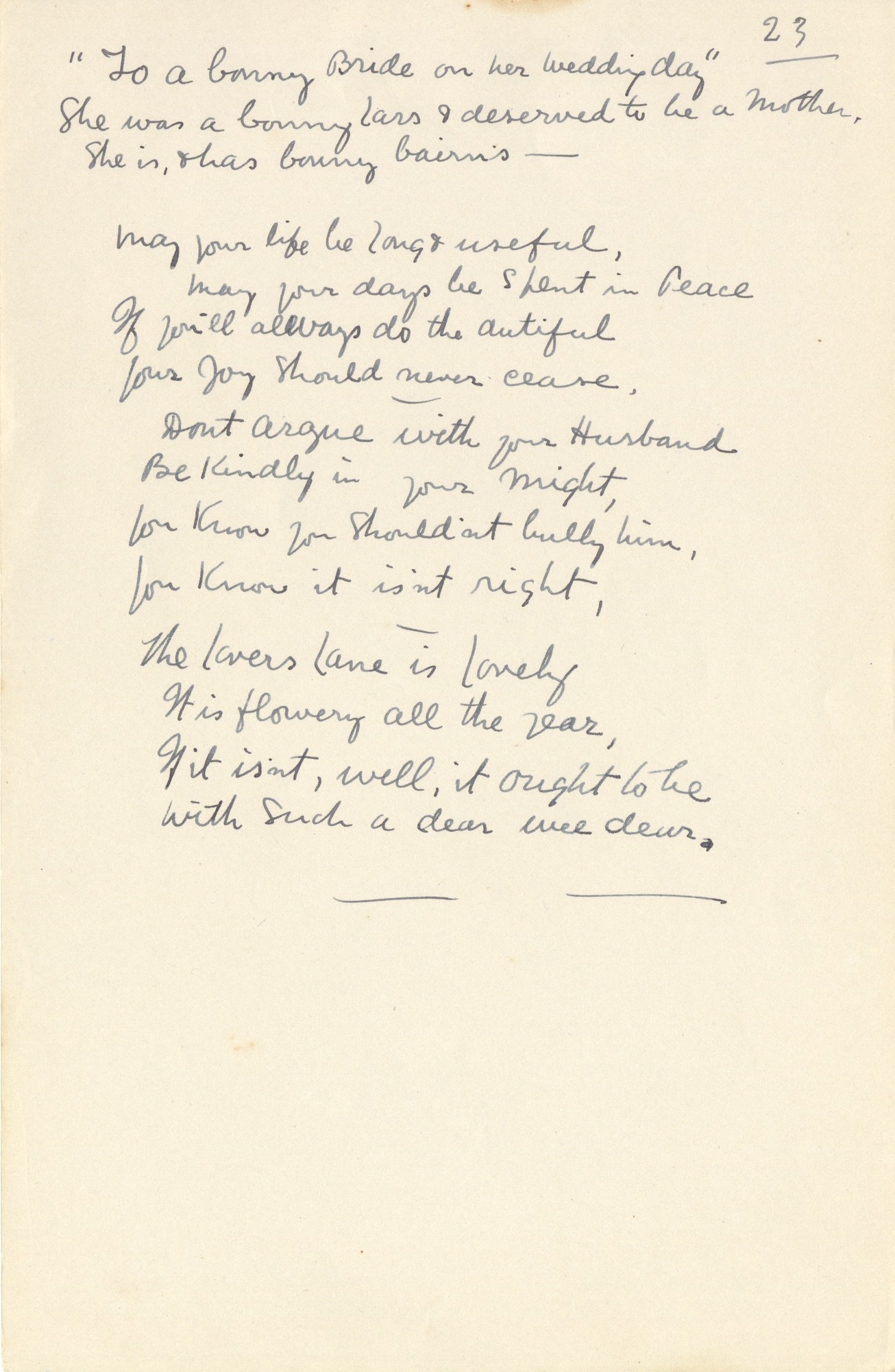 Wedding Day Letter To Bride.Handwritten Verse To A Bonny Bride On Her Wedding Day No 23