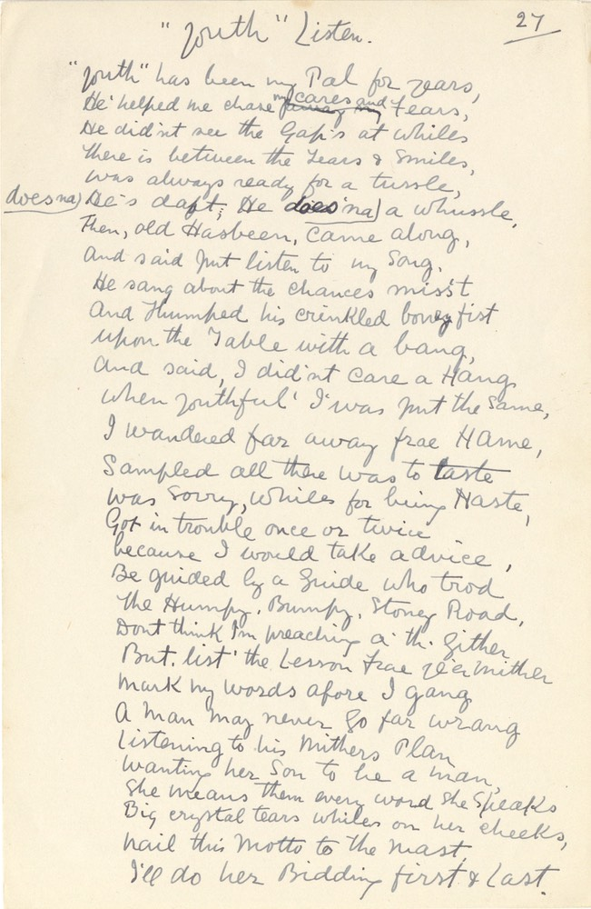 Handwritten Verse Youth Listen No 27 Undated