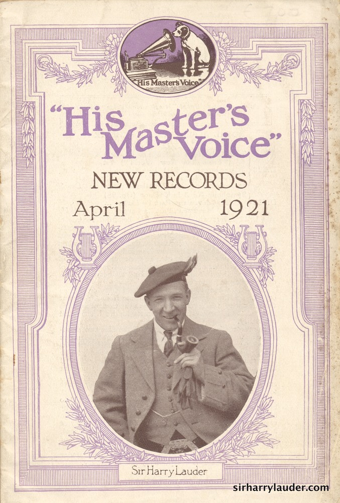 His Master's Voice New Records Booklet Cover Photo Apr 1921
