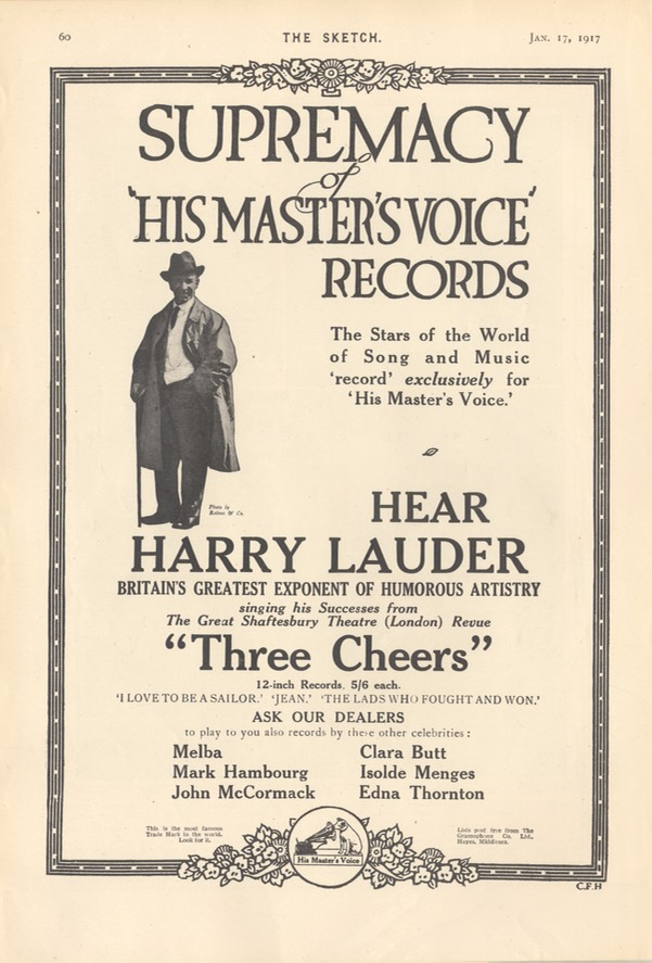 HMV Advertisement The Sketch Jan 17 1917