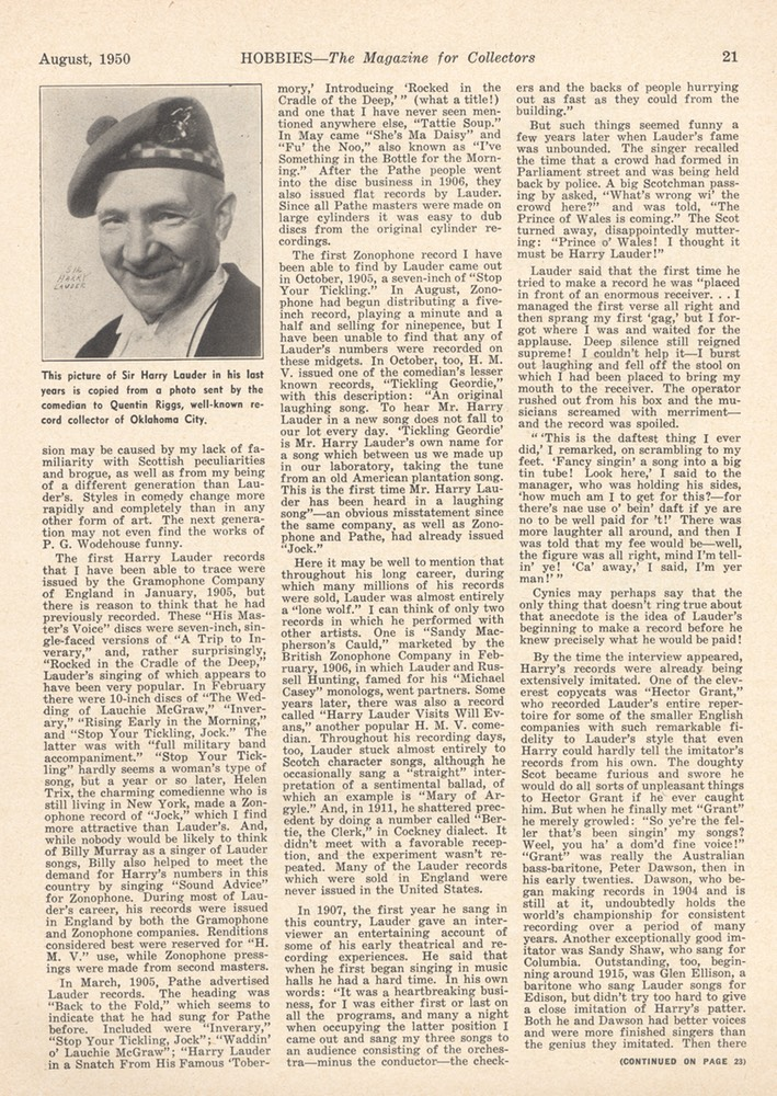 Hobbies Magazine Jim Walsh Pioneer Recording Artist Harry Lauder August 1950 -2