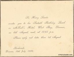 Invitation For Sir Harry 60th Birthday West Bay Dunoon 10th July 1930