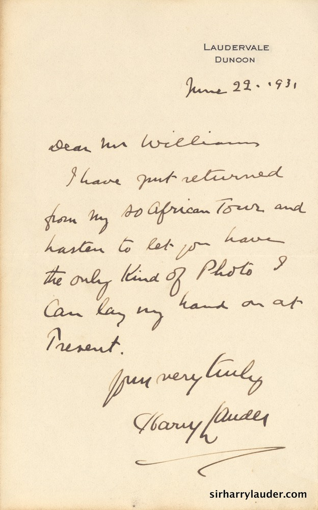 Letter handwritten To Mr Williams On Laudervale Letterhead Jun 22 1931-001