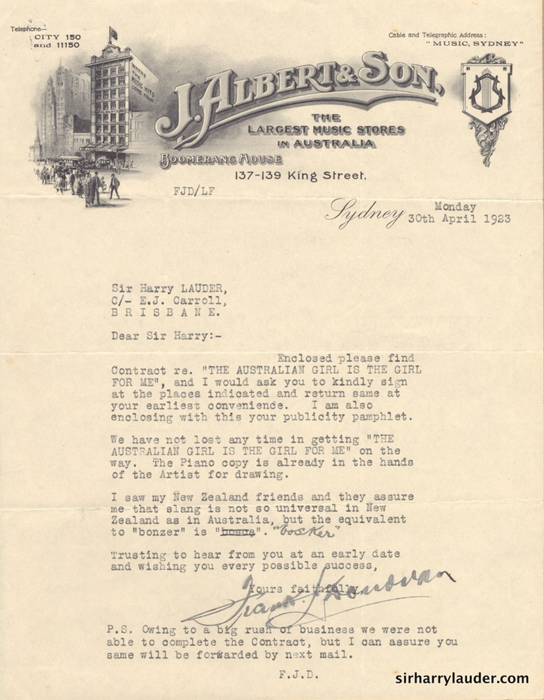 Letter Typewritten To Sir Harry Re Song Publishing Agreement 30