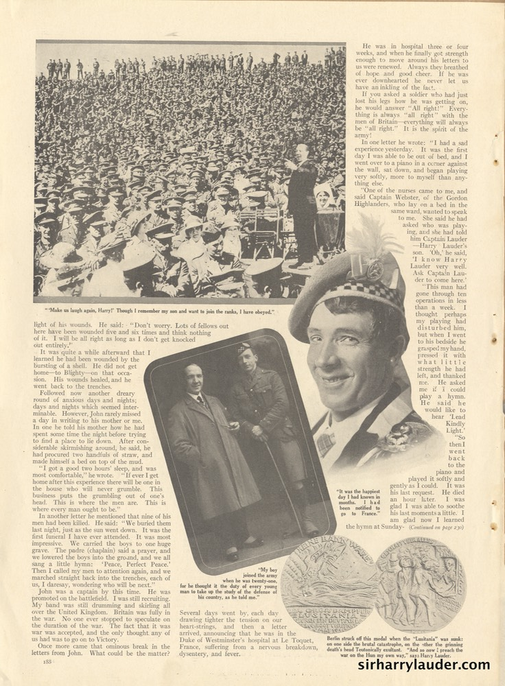Magazine Article Hearsts Harry Lauders Story Of The War -2