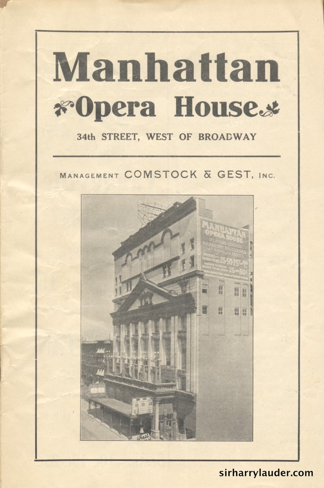 Manhattan Opera House New York Programme Booklet Oct 9 1911 -1
