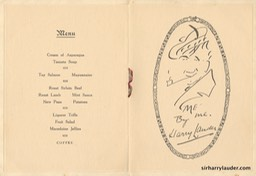 Menu Card For Sir Harry 60th Birthday Dunoon Signed Aug 4th 1930 Inside