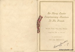 Menu Card For Sir Harry 60th Birthday Dunoon Signed Aug 4th 1930