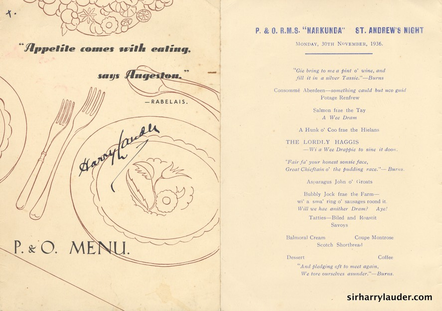 Menu Signed P&O RMS Narkunda St Andrews Night 30 Nov 1936