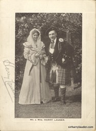 Mr & Mrs Harry Lauder Matted Pencil Signed Undated