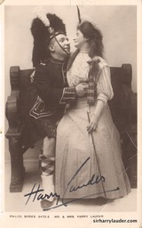 Mr & Mrs Harry Lauder Signed With Note On Verso Undated