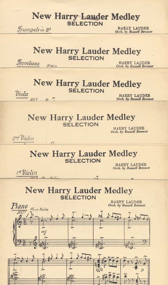 Music Sheet Orchestration Parts New Harry Lauder Medley by Russell Bennett Harms NY 1921 -1