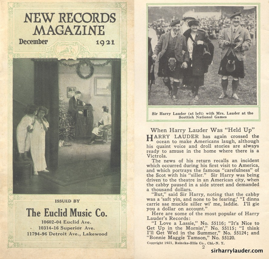 New Records Magazine Article & Photo Sir Harry & Lady Lauder Dec 1921