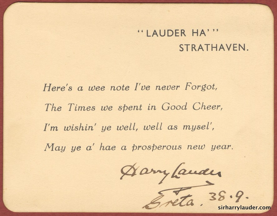 New Year Card Signed By Harry & Greta Lauder Dated 38 9