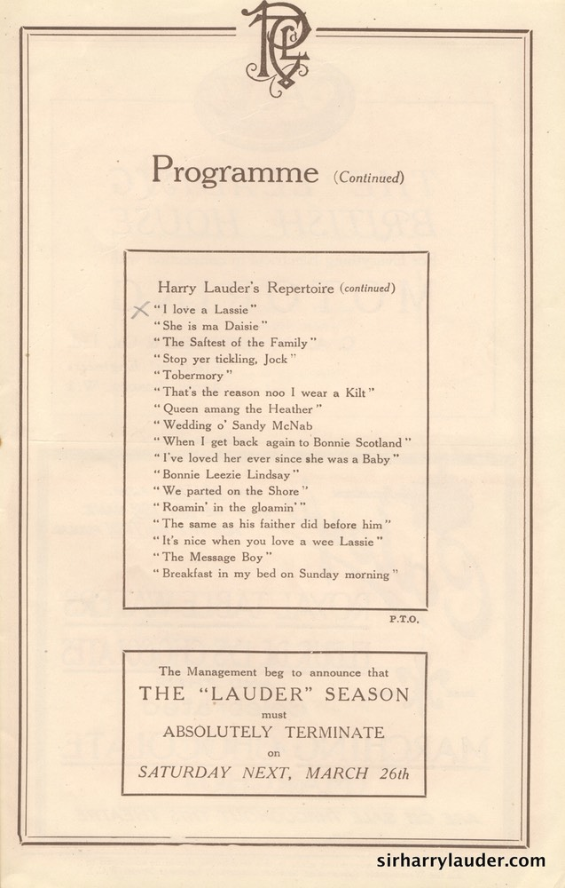 Palace Theatre London Programme Booklet Mar 26 1921** -6