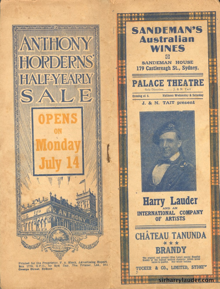 Palace Theatre Sydney Programme Booklet July 12 1919
