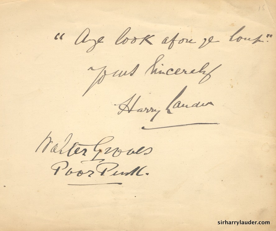 Paper inscribed & Signed Aye Look Afore Ye ??? Walter Groves Poor P??? Undated