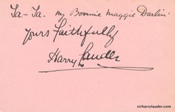 Paper Inscribed & Signed Yours Faithfully With Line From Ta Ta My Bonnie Maggie Darlin Undated