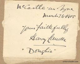 Paper Scrap Inscribed & Signed Yours Faithfully Doughie New Castle On Tyne Mar 26 1915