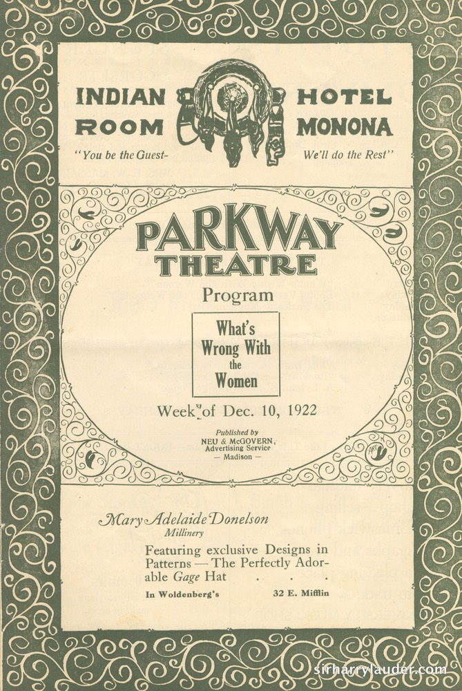 Parkway Theatre Madison Wis Program Booklet Dated Dec 1922 -1
