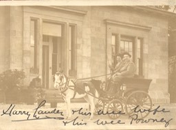 Photo Sir Harry And Lady Lauder in Horse Cart Signed and Inscribed Undated