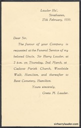 Printed Invitation From Greta Lauder To The Funeral Of Sir Harry Lauder 27 Feb 1950