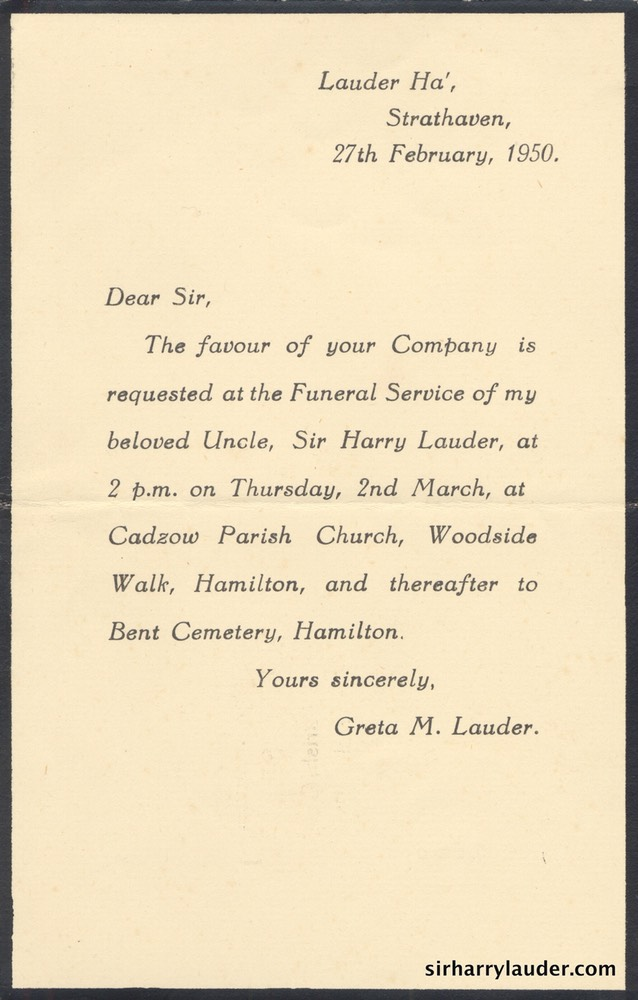Printed Invitation From Greta Lauder To The Funeral Of Sir Harry – Invitation to a Funeral