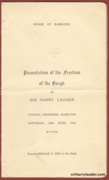 Programme For Freedom Cermony Of The Burgh Of Hamilton Signed Inside 10 June 1944 -1