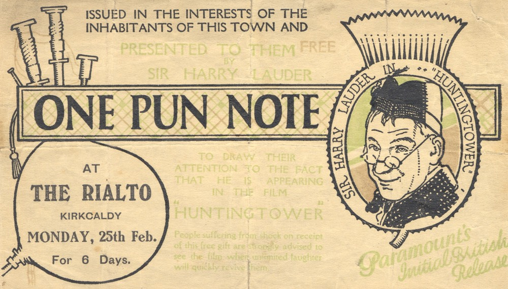 Promotion Flyer For Huntingtower One Pun Note Rialto Kirkcaldy Feb 1928