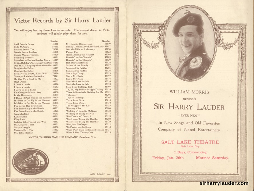 Salt Lake Theatre Programme Bi-Fold Jan 26 1923?