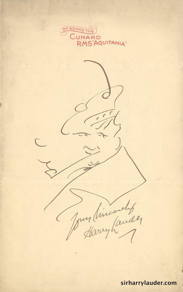 Self Drawn Caricature Ink On RMS Aquitania Letterhead Undated