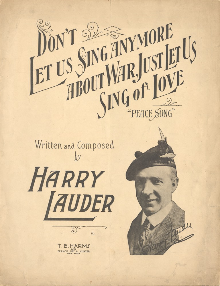 Sheet Music Dont let Us Sing Any More About War TB Harms & Francis Day & Hunter NY 1918