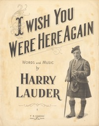 Sheet Music I wish You Were Here Again TB Harms & Francis Day & Hunter NY 1919