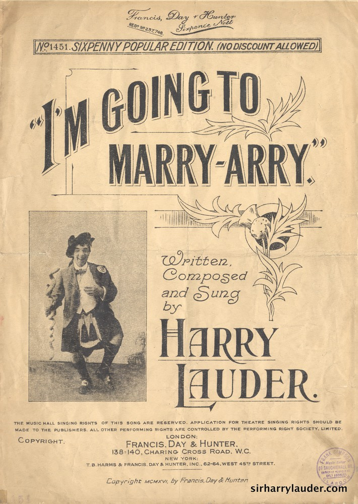 Sheet Music Im Going To Marry Arry Francis Day & Hunter London 1916