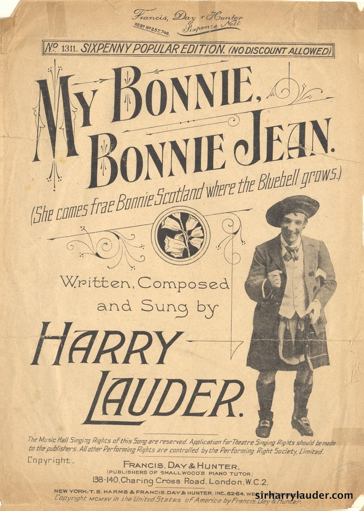 Sheet Music My Bonnie Bonnie Jean Francis Day & Hunter London 1905