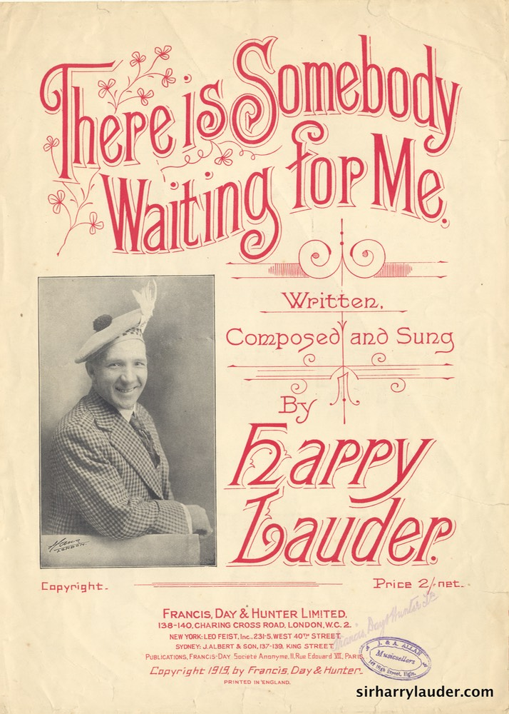 Sheet Music There Is Somebody Waiting For Me Francis Day & Hunter London 1925