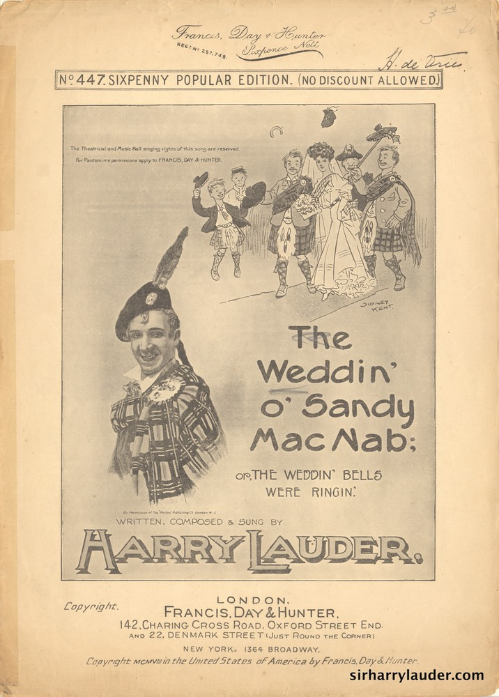 Sheet Music Weddin O Sandy MacNab Francis Day & Hunter London 1908